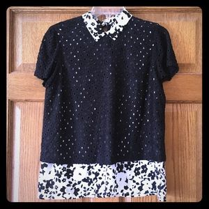 Elle Black and White Layered Top M